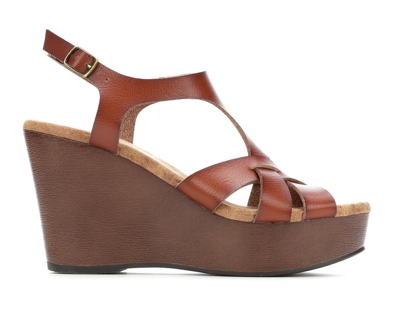 Women's Jellypop Molaki Strappy Wedge Sandals Cognac