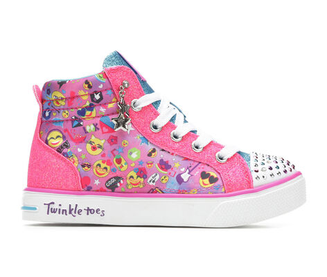 Girls' Skechers Emoji Magic 10.5-4 High Top Light-Up Sneakers