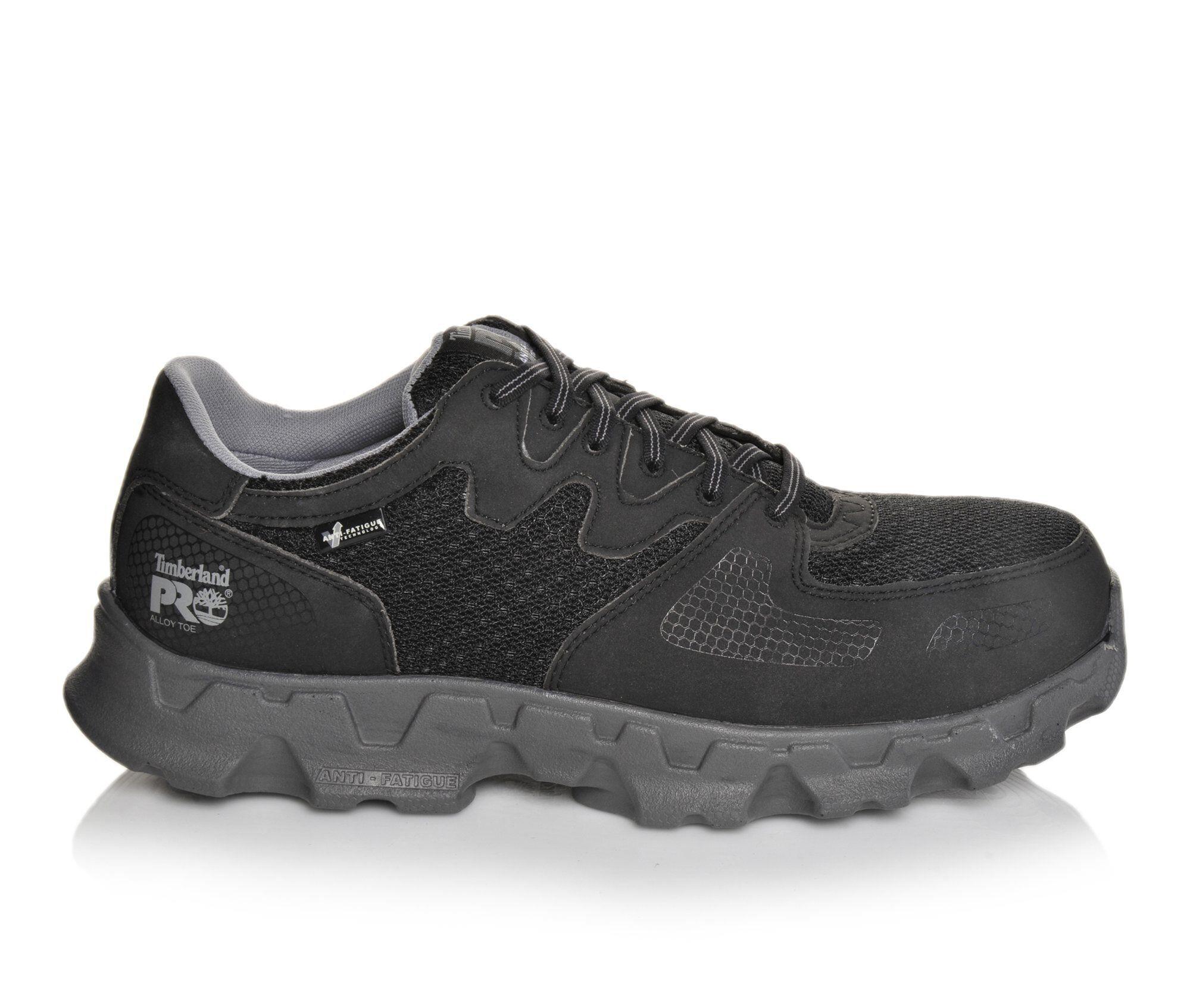 Men's Timberland Pro Powertrain 92649 Alloy Toe Work Shoes Black/Grey