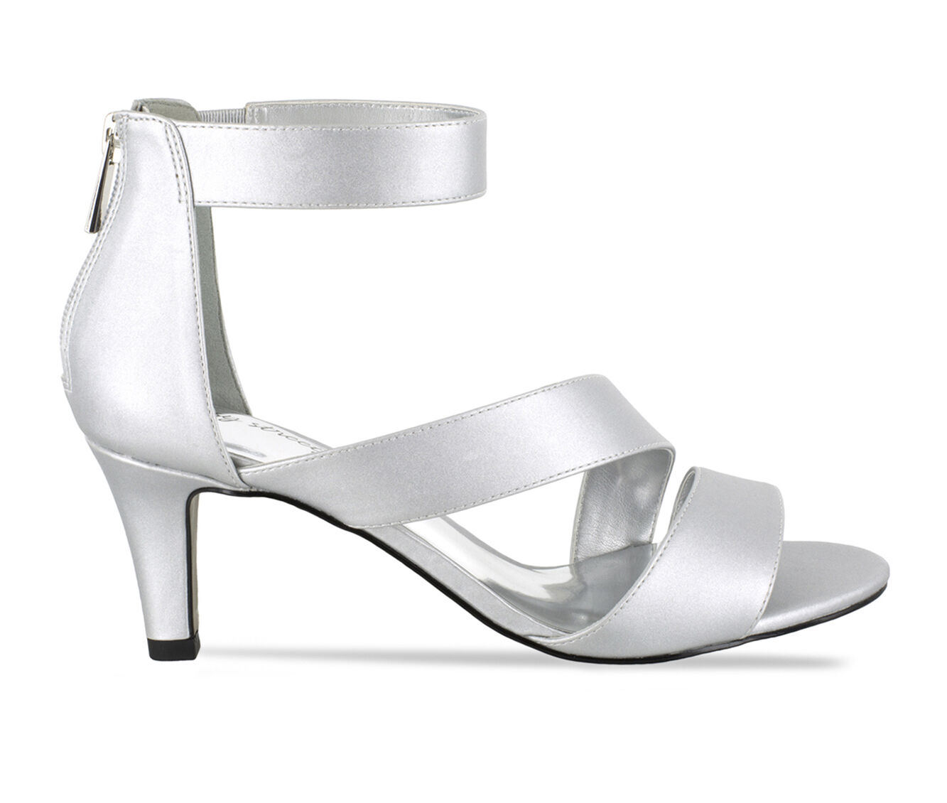 Women's Easy Street Maxi Strappy Heeled Dress Sandals Silver Satin