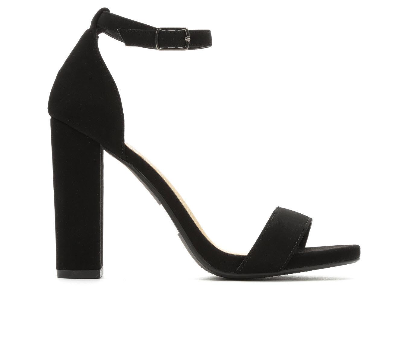 Women's Y-Not Shiner Heeled Sandals Black Nub