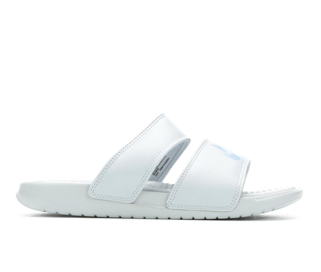 Women's Nike Benassi Duo Slide Sandals Platinum/Spruce