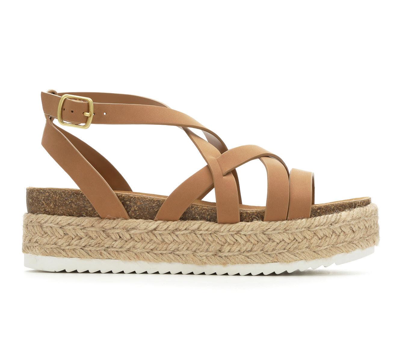 Women's Y-Not Khloe Flatform Sandals Natural Nub PU