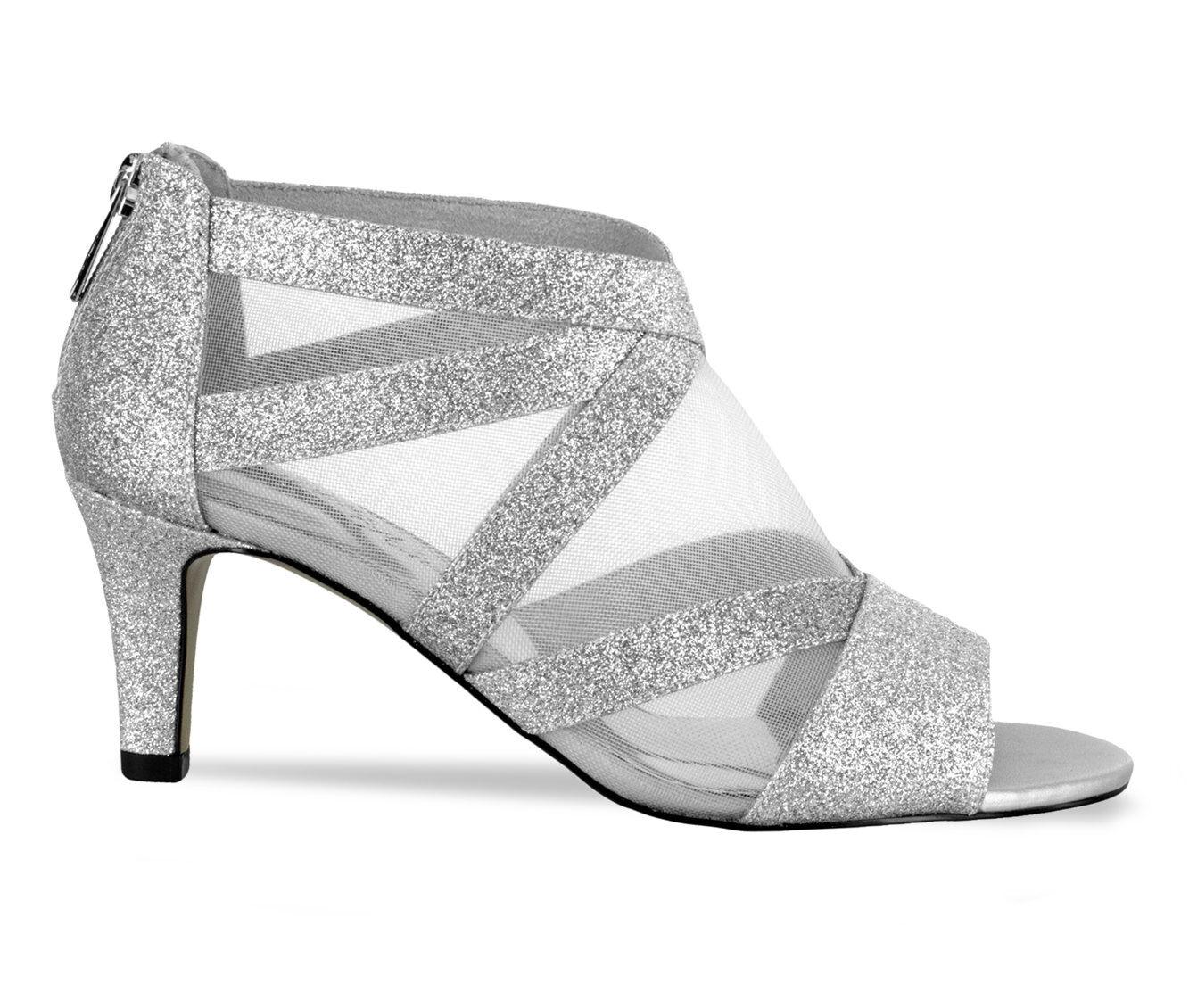 Women's Easy Street Dazzle Heeled Dress Sandals Silver Glitter