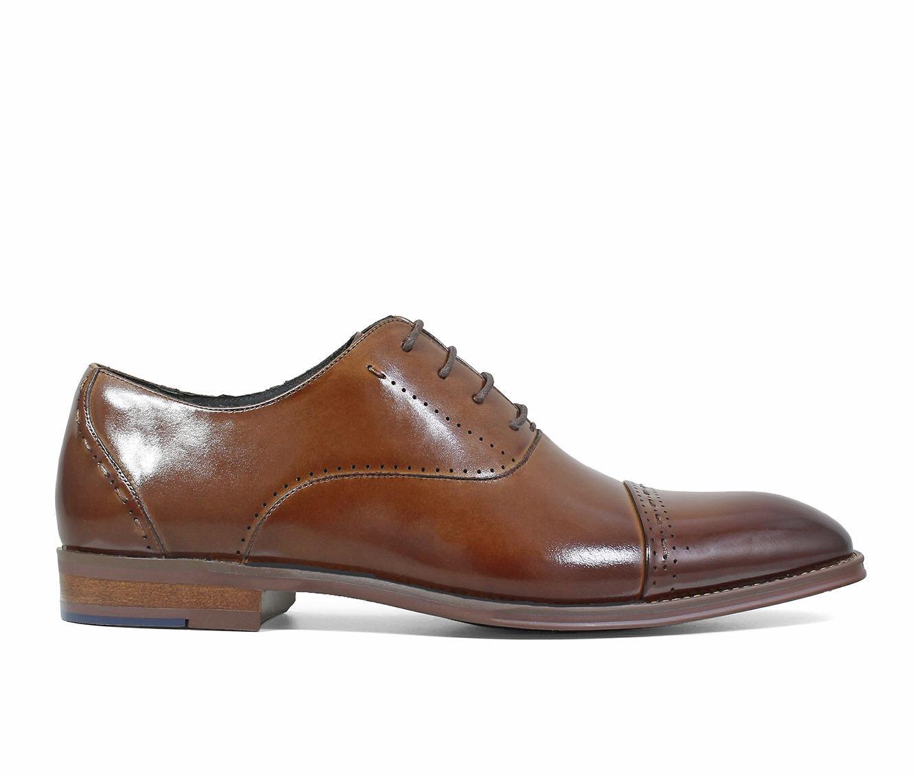 Men's Stacy Adams Barris Cap Toe Oxford Dress Shoes Cognac