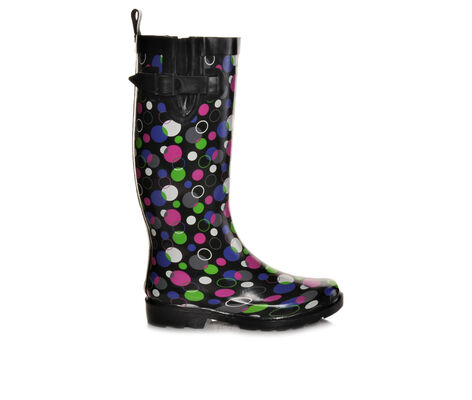 Women's Capelli New York Shiny Dancing Dots Rain Boots