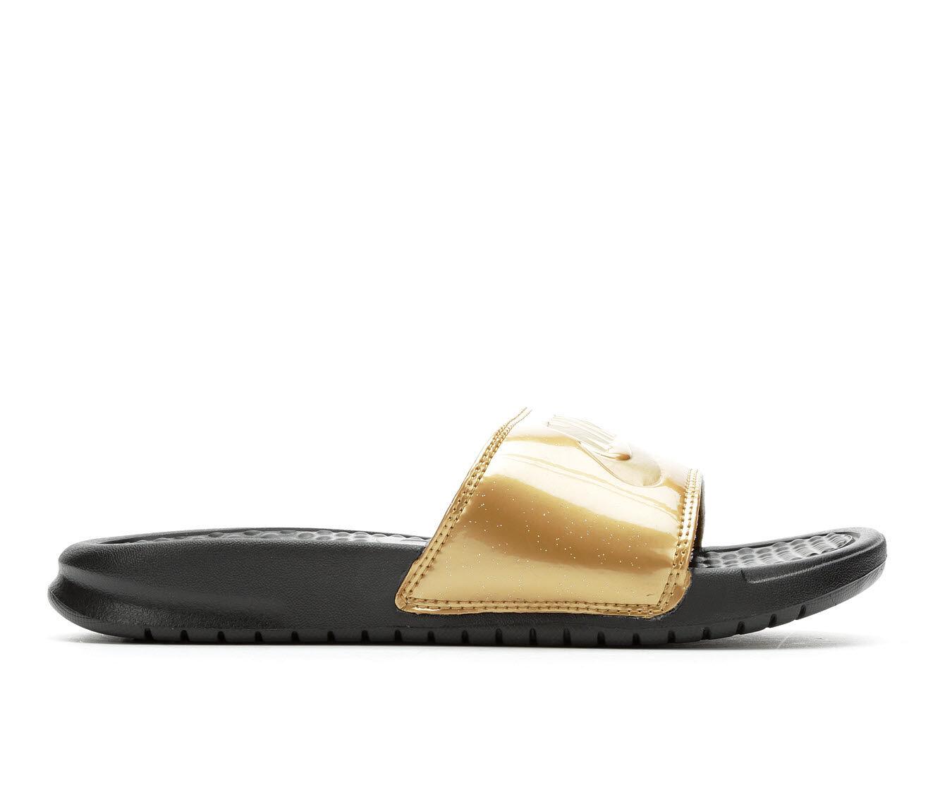 To Buy Popular Women's Nike Benassi JDI Print Sport Slides Black/Met Gold