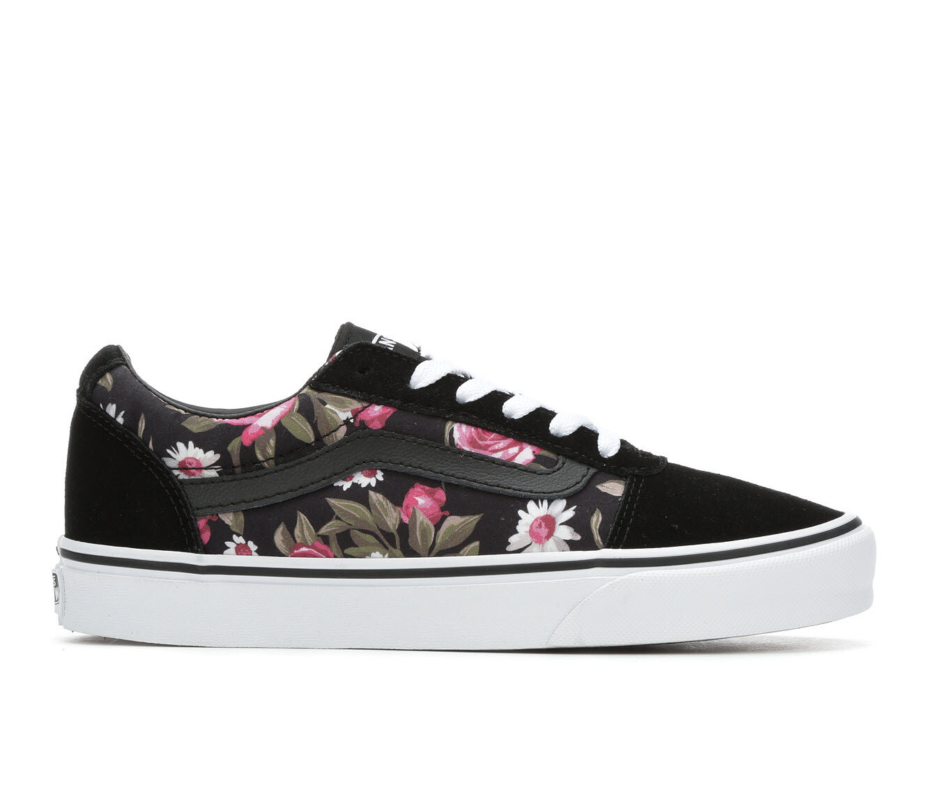 Women's Vans Ward Roses Skate Shoes Black/Pink