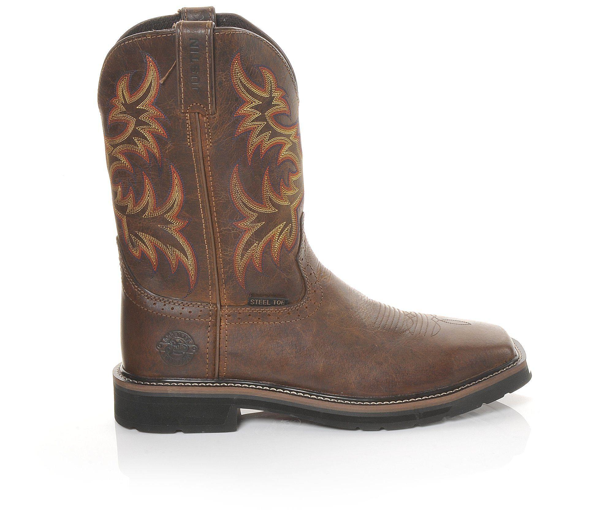Men's Justin Boots WK4682 Stampede Steel Toe Work Boots Brown