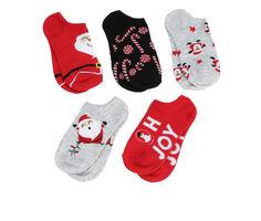Apara 5pr Girls Holiday No Show Socks