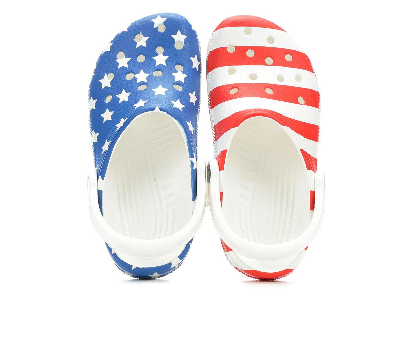 Women's Crocs Classic American Flag White Multi