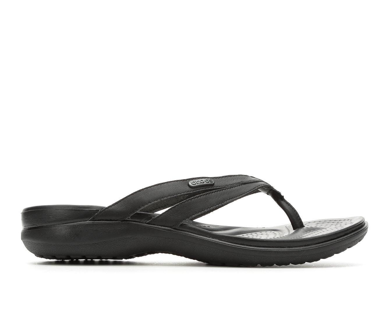 Women's Crocs Capri Strappy Flip-Flop Black/Black