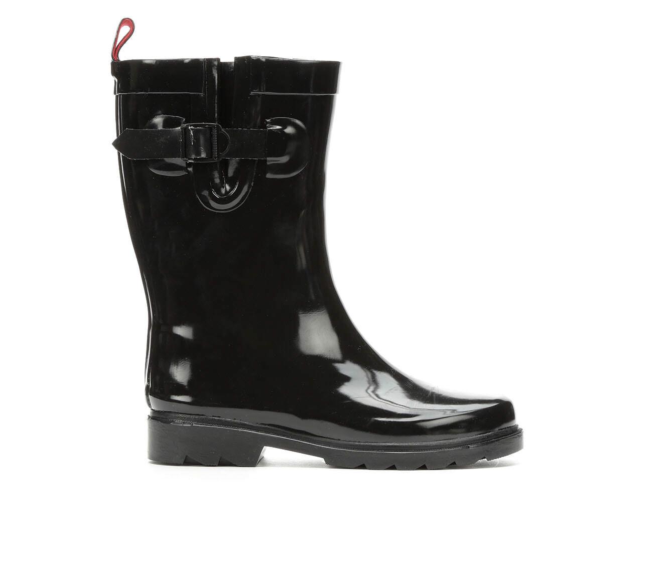 Best Quality Women's Capelli New York Shiny Solid Mid Rain Boots Black