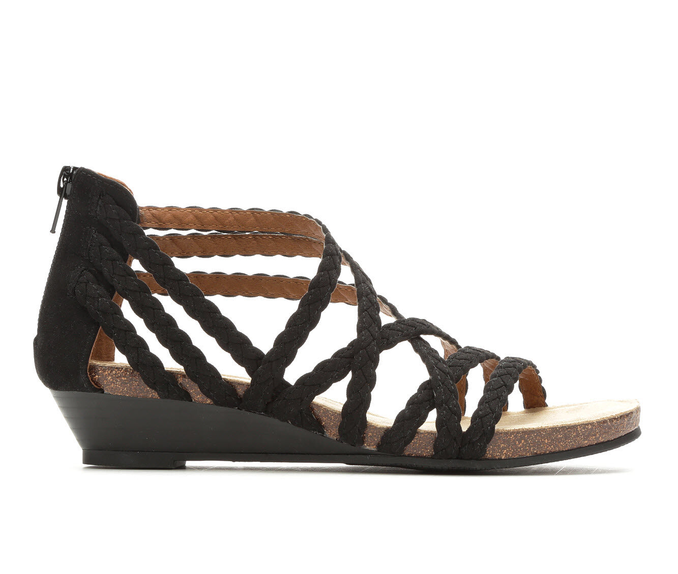 Women's Vintage 7 Eight Odessa Strappy Wedge Sandals Black