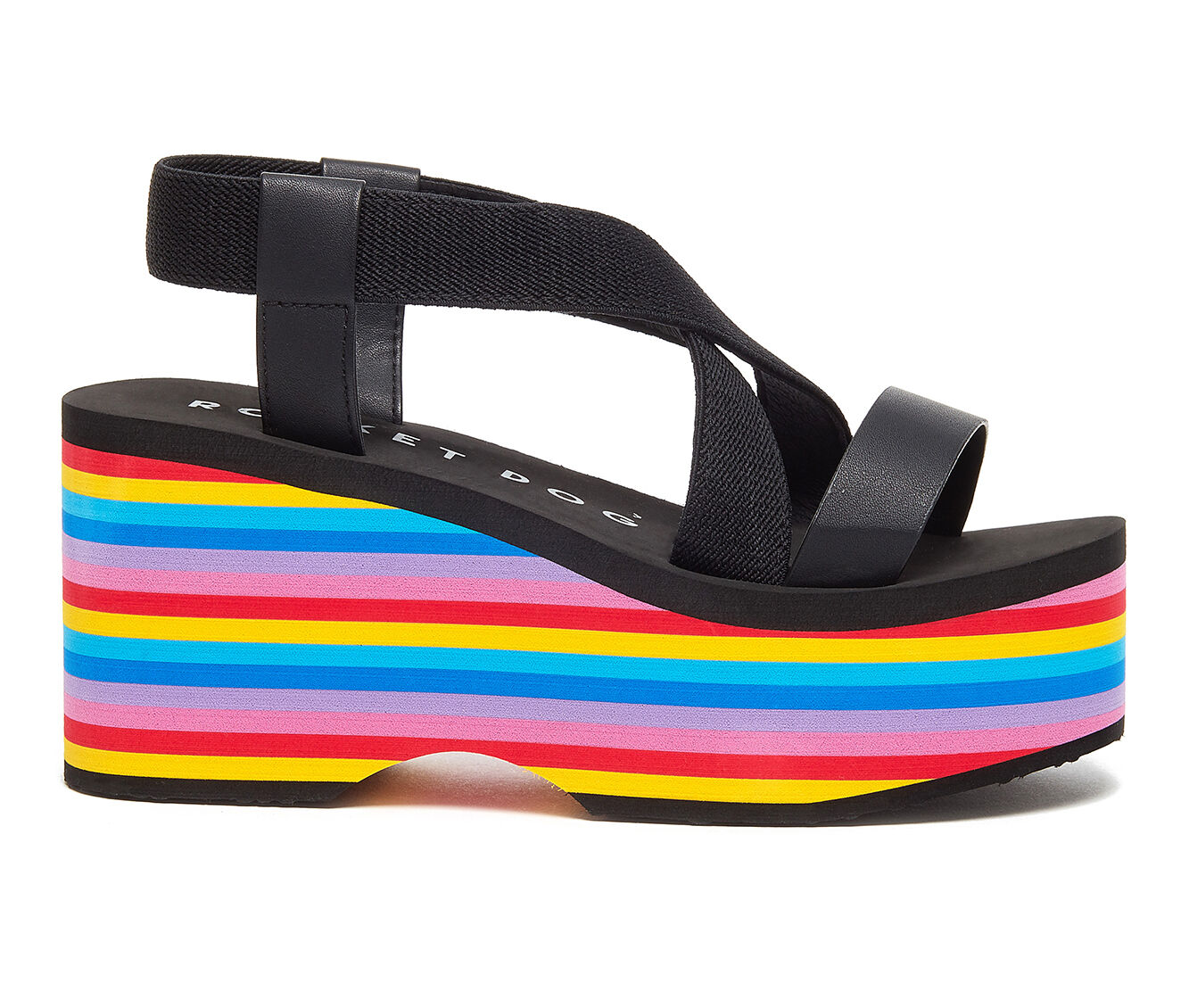 Women's Rocket Dog Lil Strappy Platform Sandals Black/Rainbow