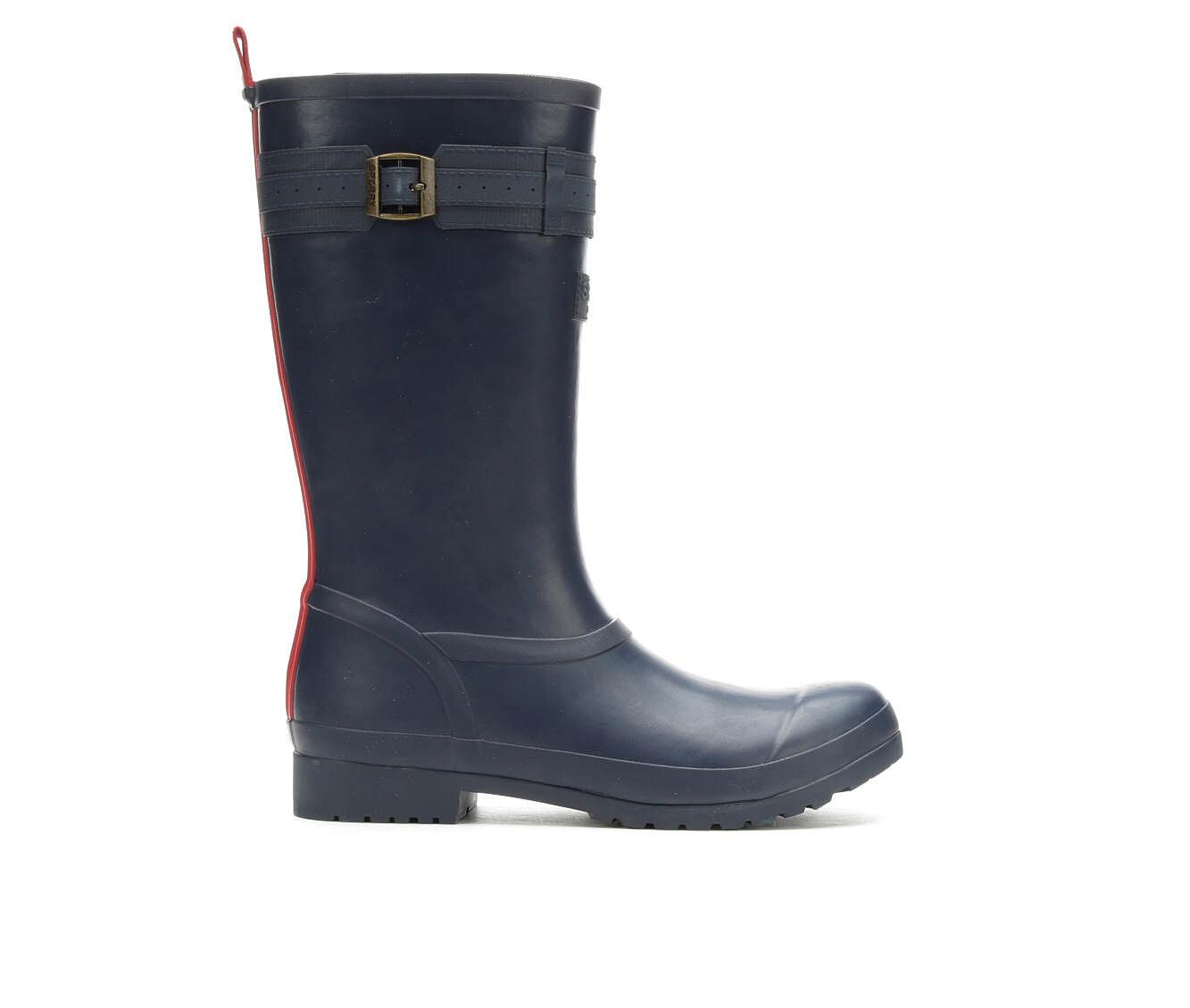 UK Outlet Store Women's Sperry Walker Atlantic Rain Boots Blue/Red