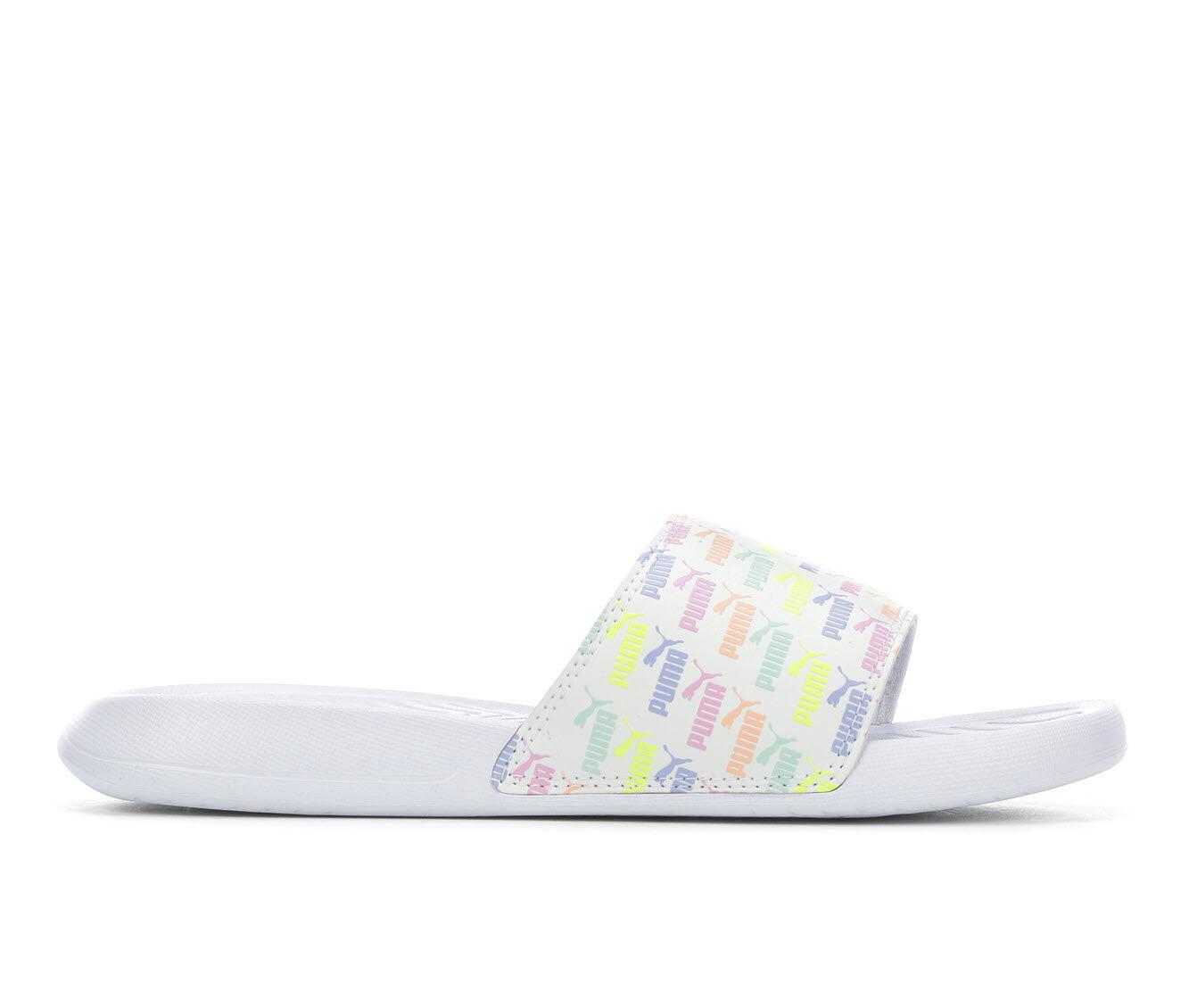 Women's Puma Popcat Mini Logo Sport Sandals White