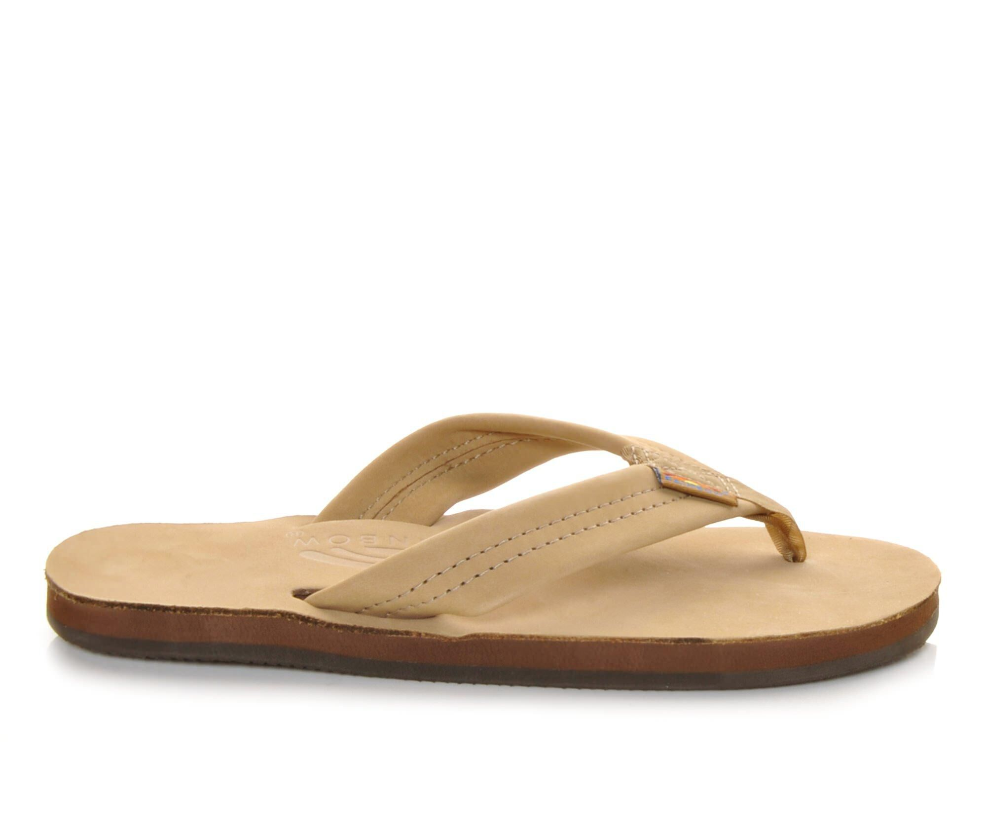 Women's Rainbow Sandals Single Layer Premier Leather -301ALTS Flip-Flops Sierra Brown