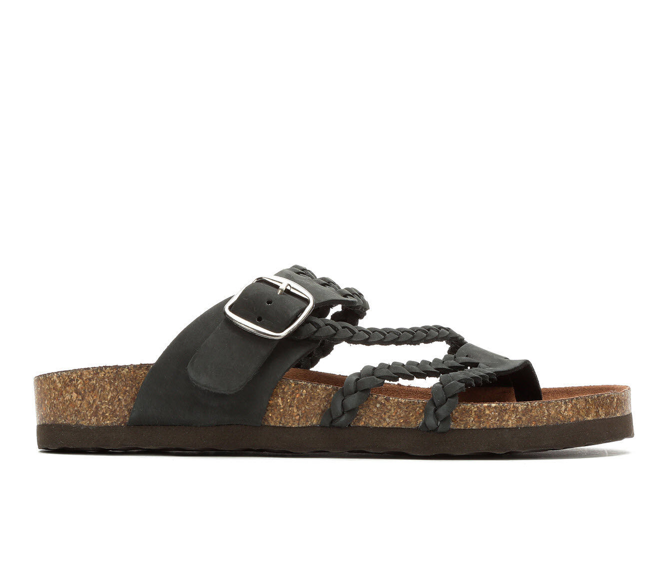 Women's White Mountain Hayleigh Strappy Footbed Sandals Black