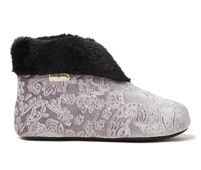 Dearfoams Sadie Embossed Velour Bootie Slippers