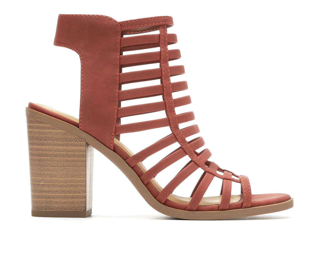 Women's Soda Depth Heeled Sandals Dk Rust Nub