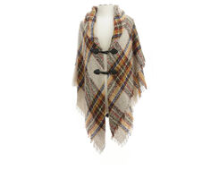 Collection 18 London Boucle Plaid Toggle Wrap