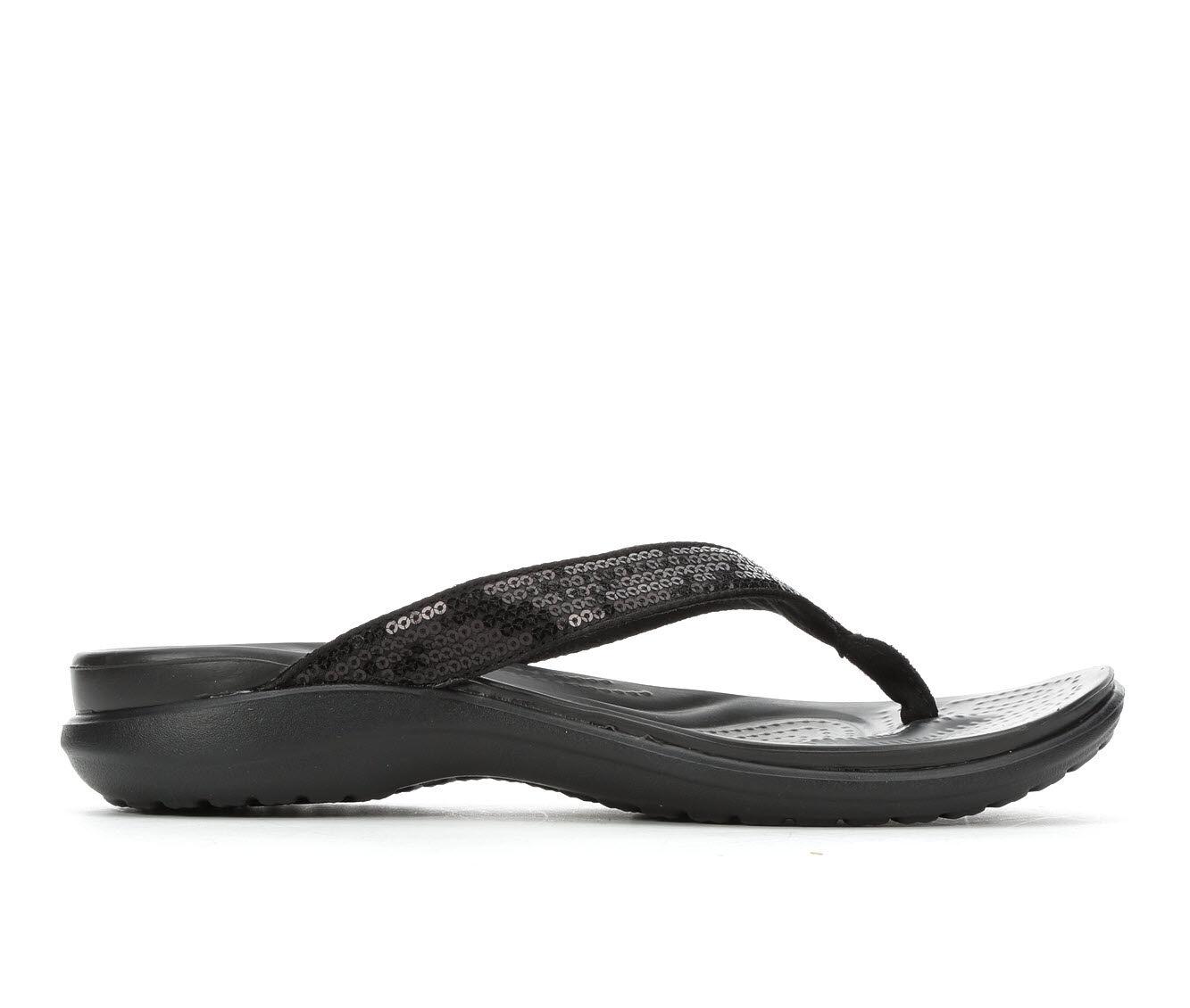 best price Women's Crocs Capri V Sequin Flip-Flops Black