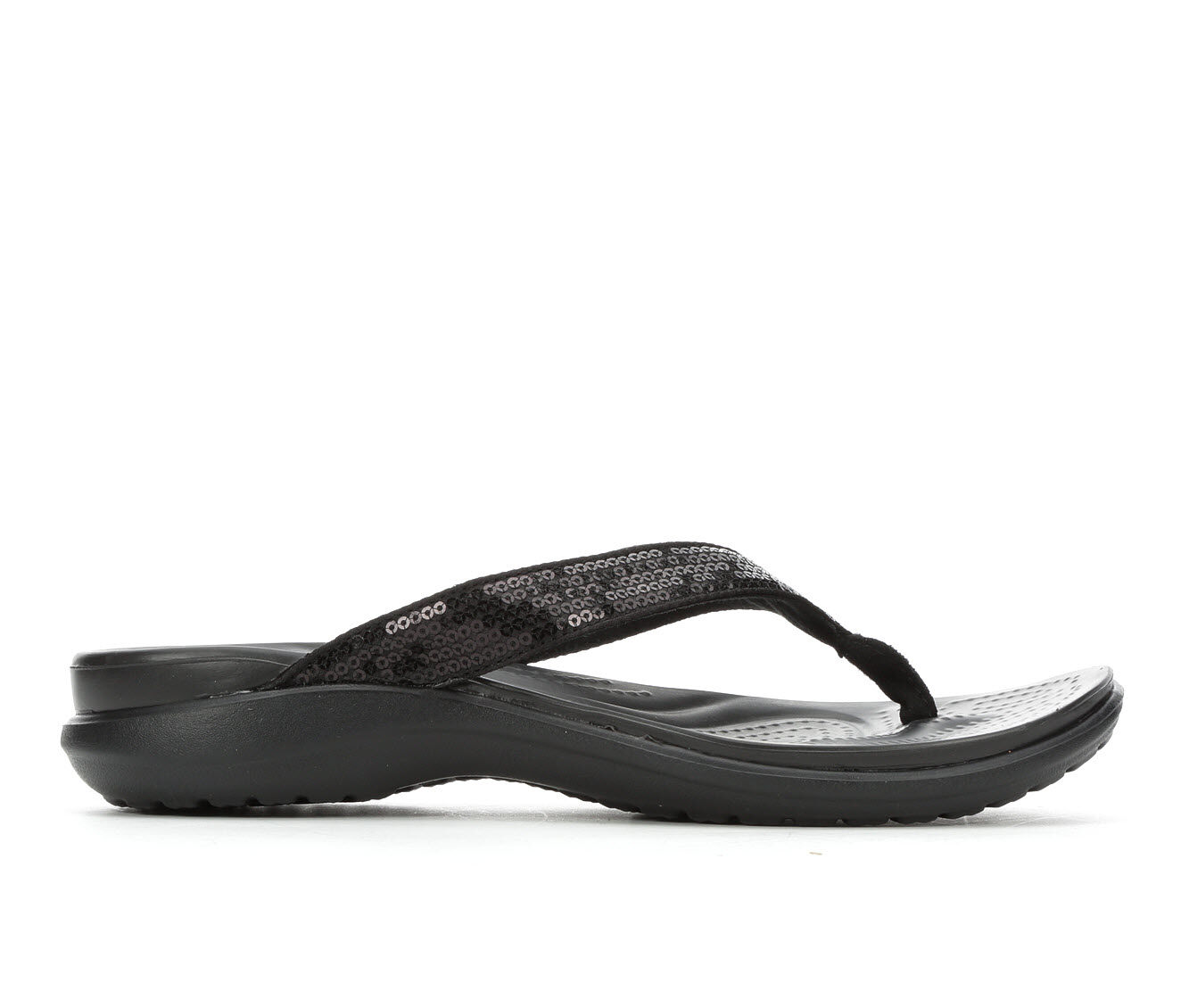 Women's Crocs Capri V Sequin Flip-Flops Black