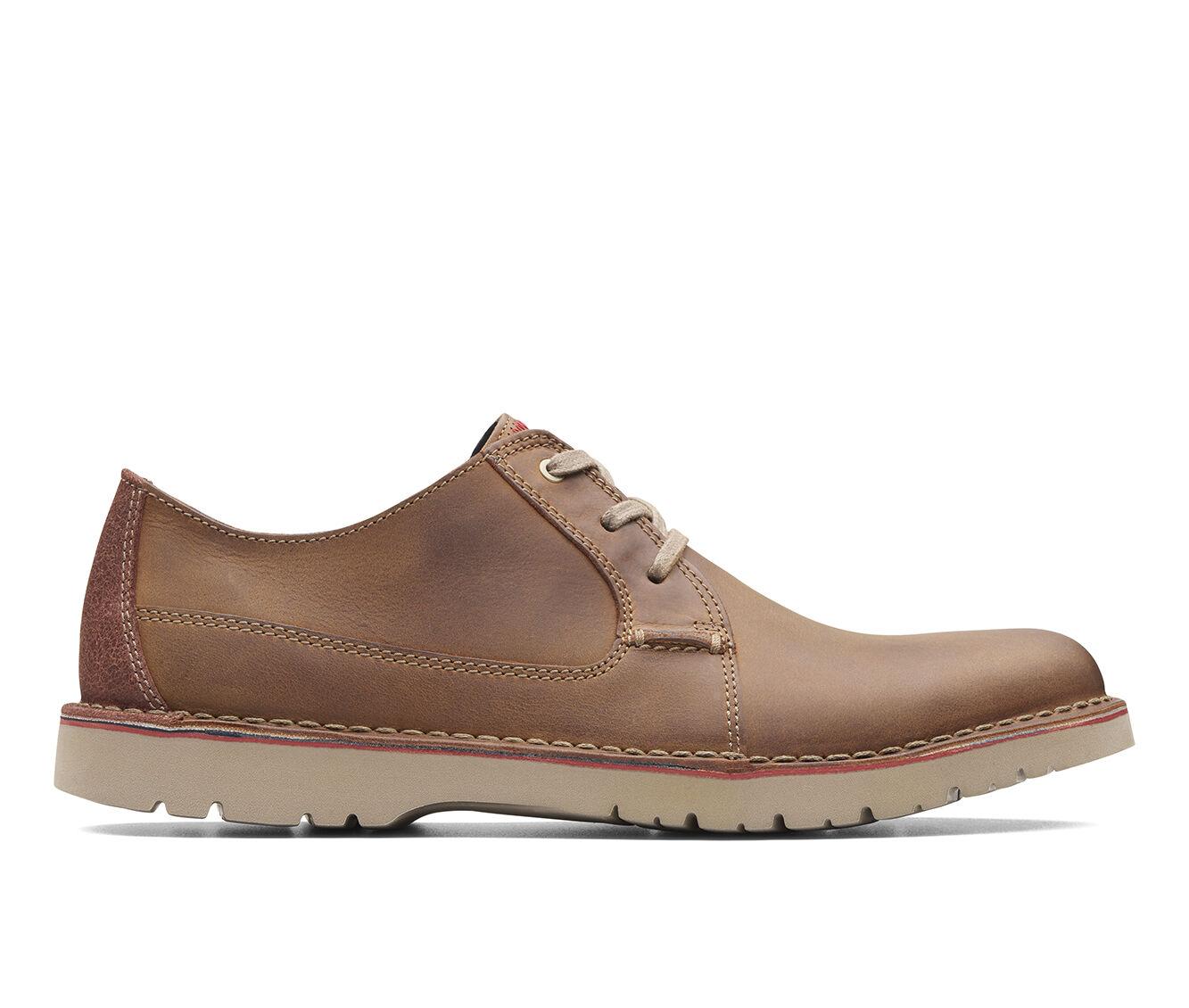 Men's Clarks Vargo Plain Dress Shoes Dark Tan