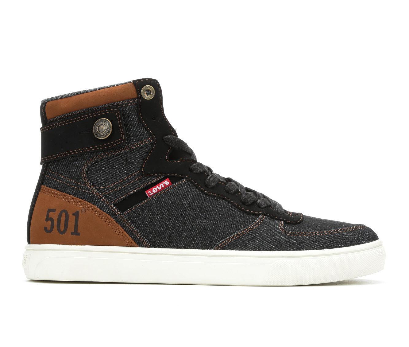 Men's Levis Jeffery Hi 501 Denim Casual Shoes Black/Tan