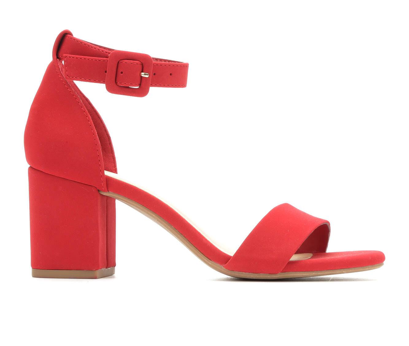 Women's Y-Not Cake Heeled Sandals Lipstick Nubuck