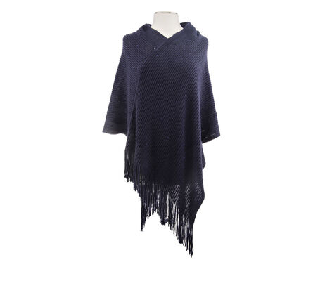 Rampage Sequin Poncho with Fringe