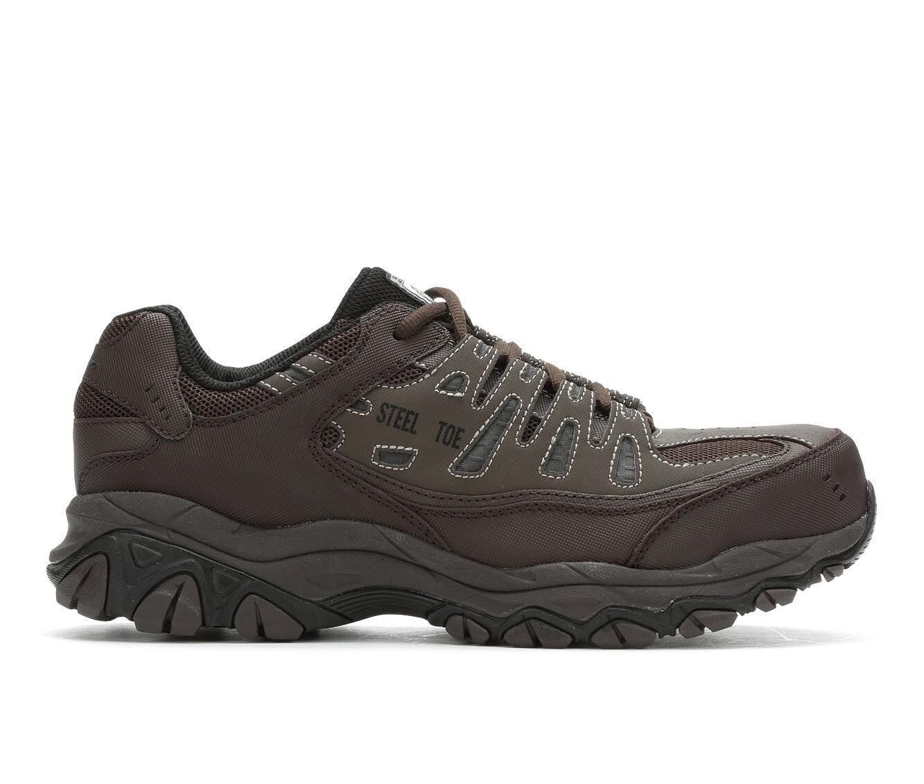 Men's Skechers Work 77055 Cankton Steel Toe Work Shoes Brown