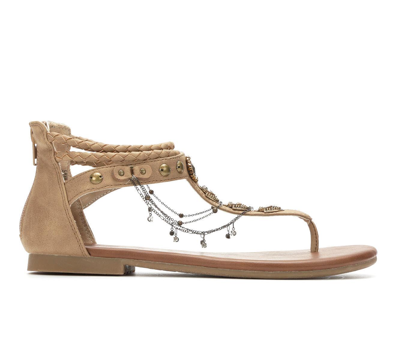 Trend Mark Women's Jellypop Cava Flat Sandals Sand Distressed