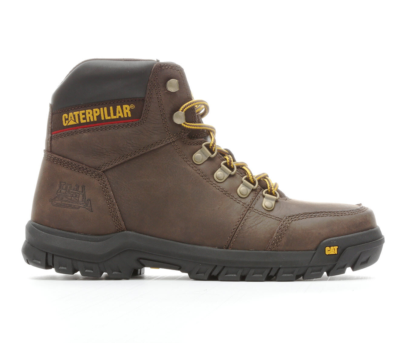 Quite Cool Men's Caterpillar Outline Soft Toe Work Boots Dark Brown