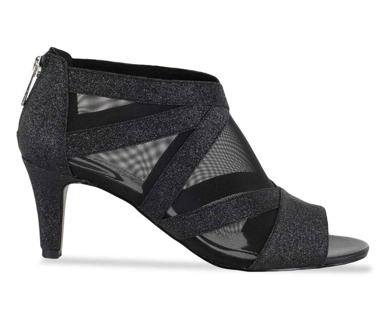 Women's Easy Street Dazzle Heeled Dress Sandals Black Glitter