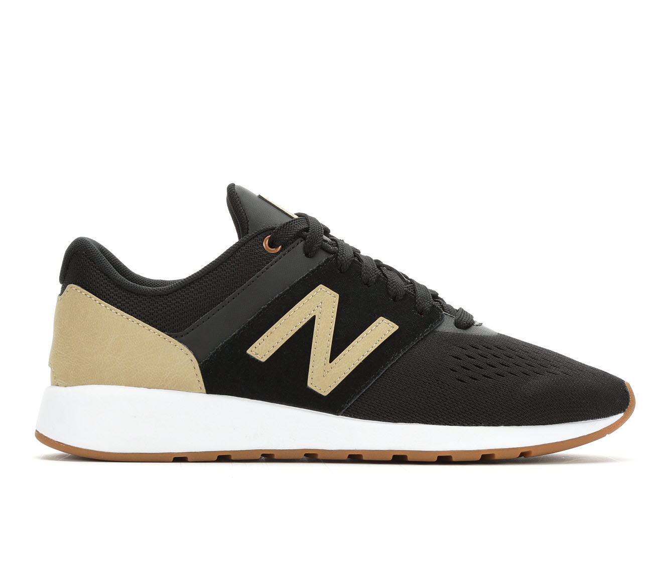Women's New Balance WRL24V1 Retro Sneakers Black/Gold/Wht