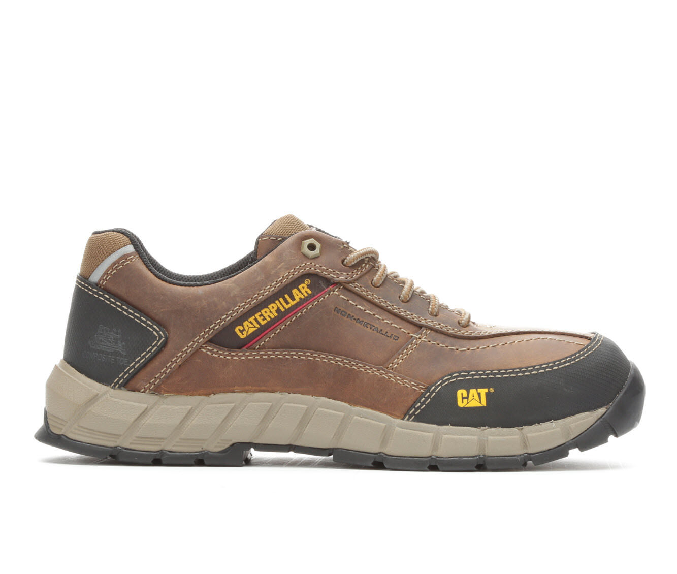 Outdoor Sports Men's Caterpillar Streamline Leather Composite Toe Work Shoes Dark Beige