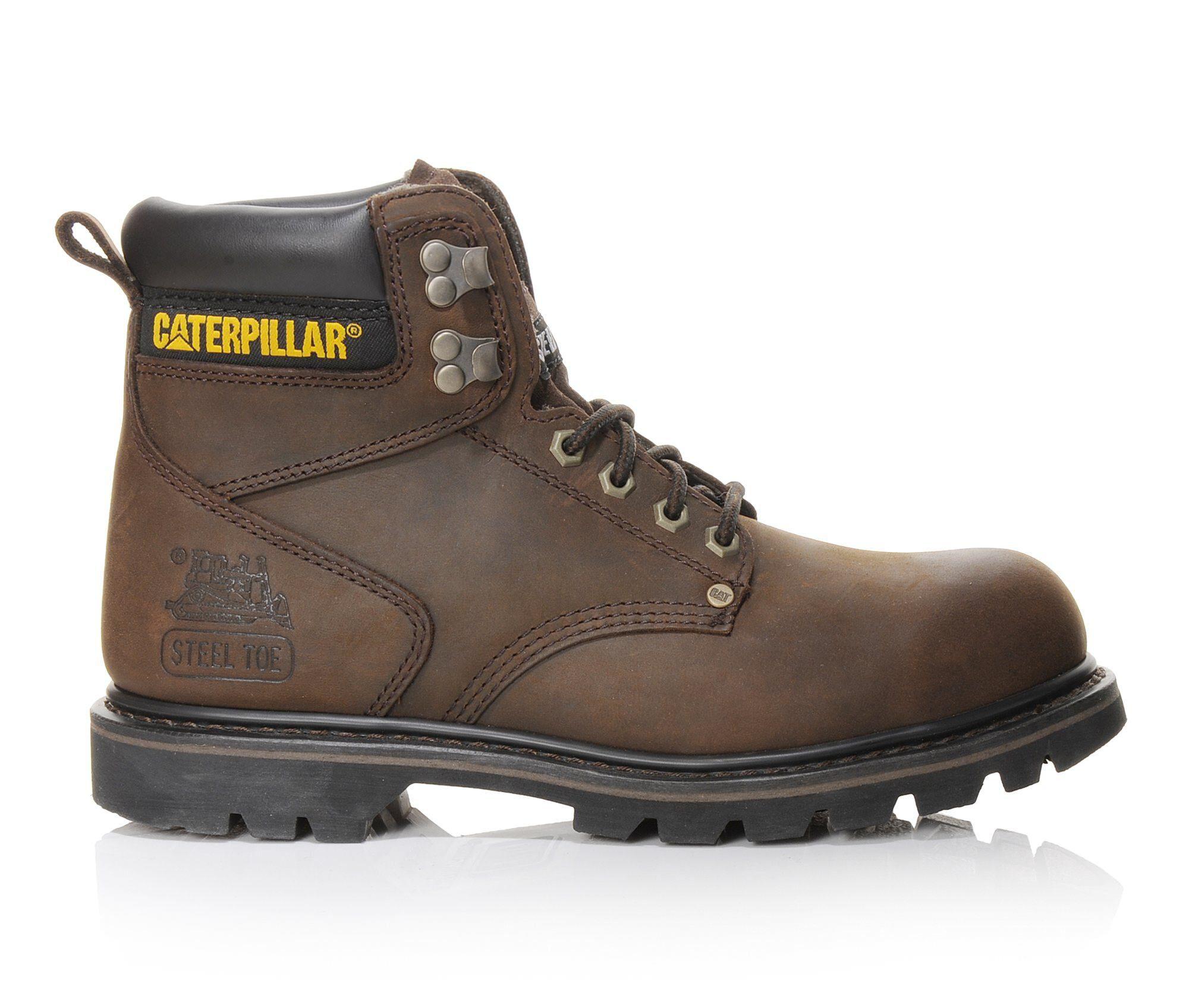 Men's Caterpillar Second Shift 6 In Steel Toe Work Boots Brown