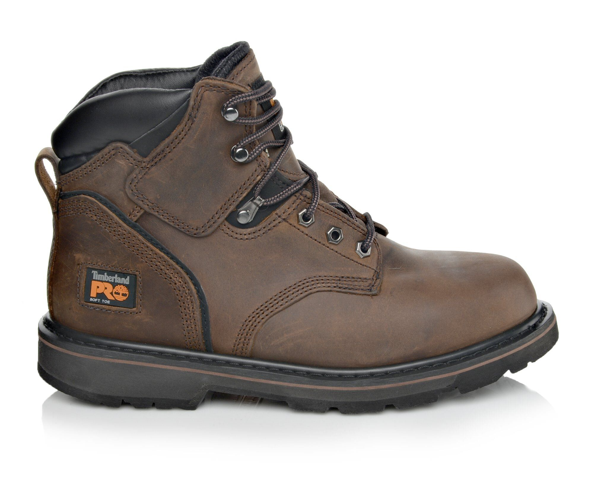 """Timberland PRO Boots Mens Pit Boss 6/"""" Soft or Steel Toe Leather Boot Brown Black"""