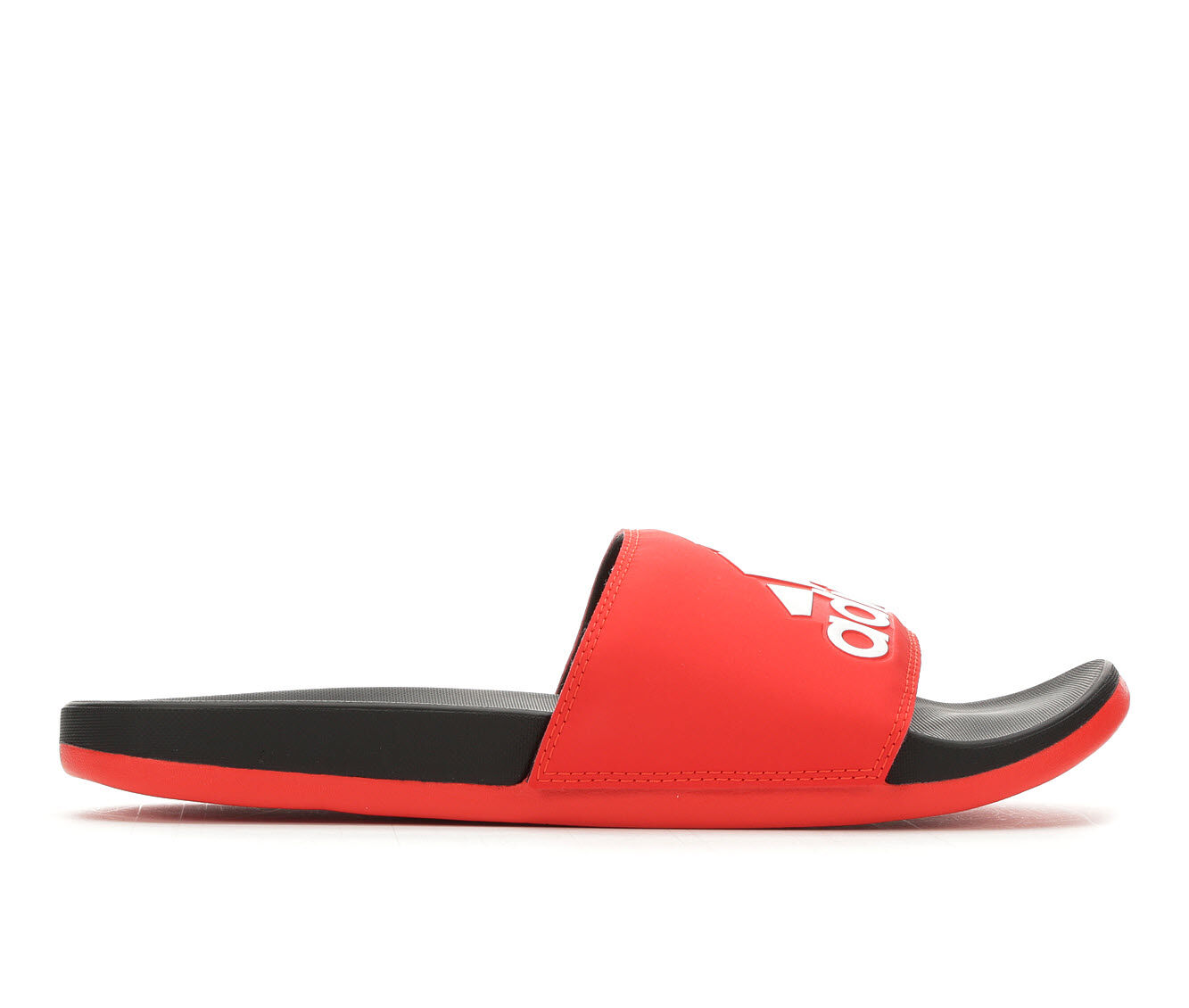 Beautiful Men's Adidas Adilette Cloudfoam + Logo Sport Slides Red/White/Black
