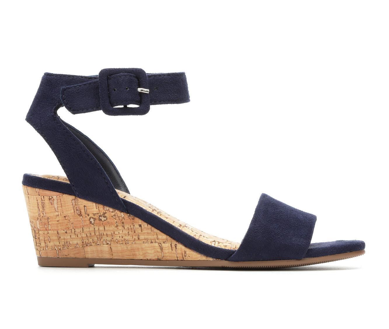 Women's Solanz Ellie Wedge Sandals Navy Micro
