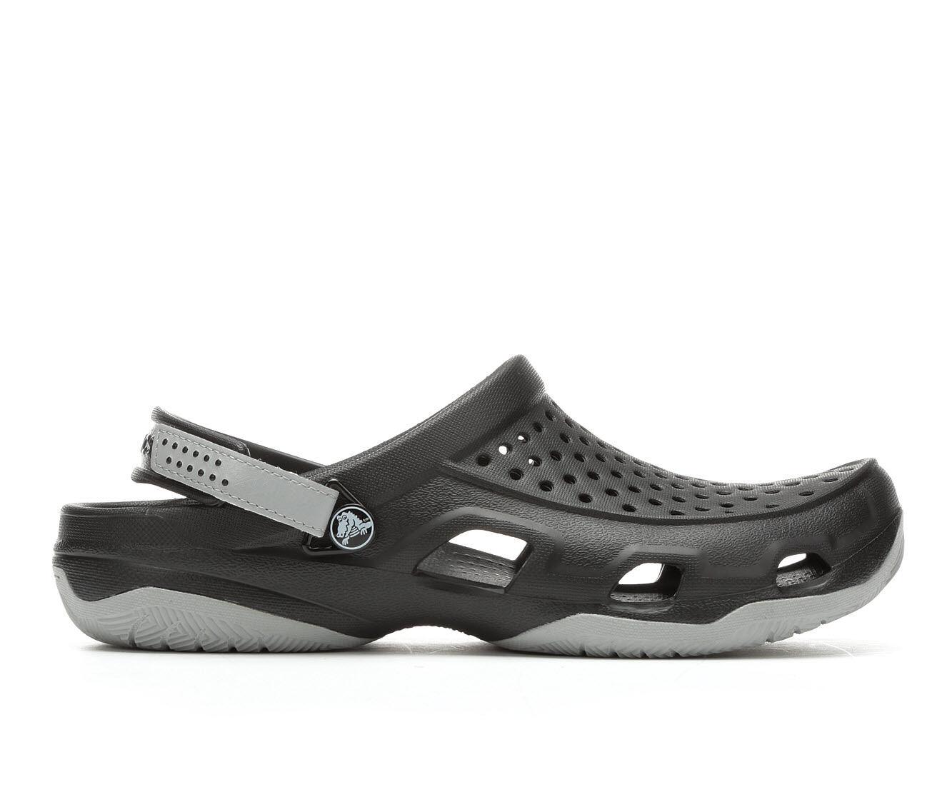 clearance Men's Crocs Swiftwater Deck Clog Black/Grey