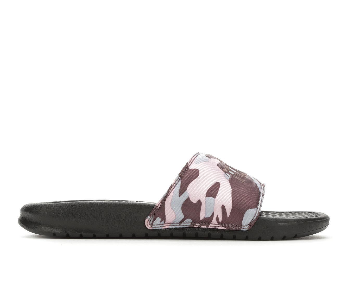 Women's Nike Benassi JDI Camo Sport Sandals Plum/Obsidian