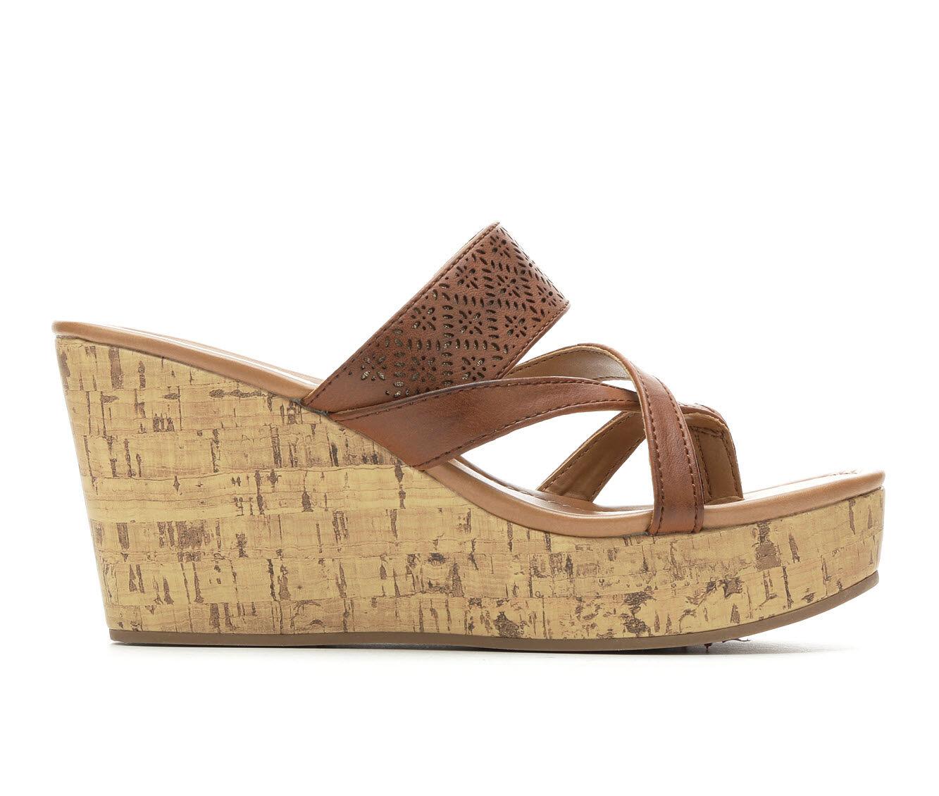 Women's Makalu Lucila Strappy Wedge Sandals Cognac