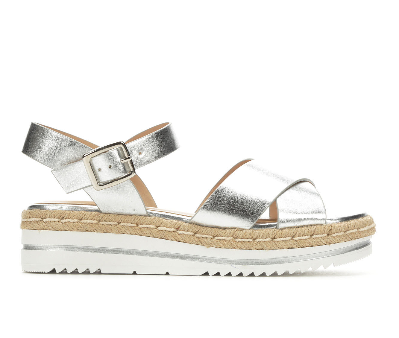 Women's Unr8ed Picnic Strappy Flatform Sandals Silver Met