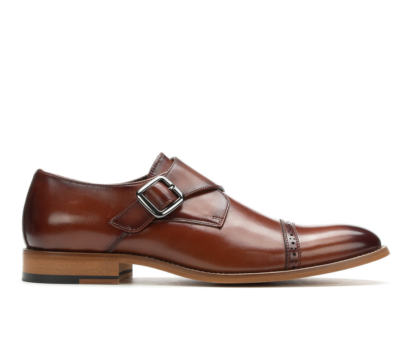 Men's Stacy Adams Desmond Monk Strap Dress Loafers Cognac