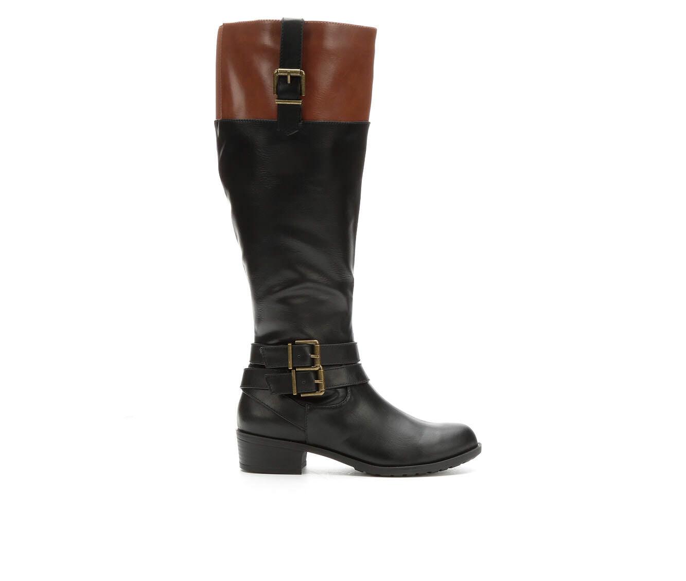 Women's Solanz Grammercy Riding Boots Black/Cognac