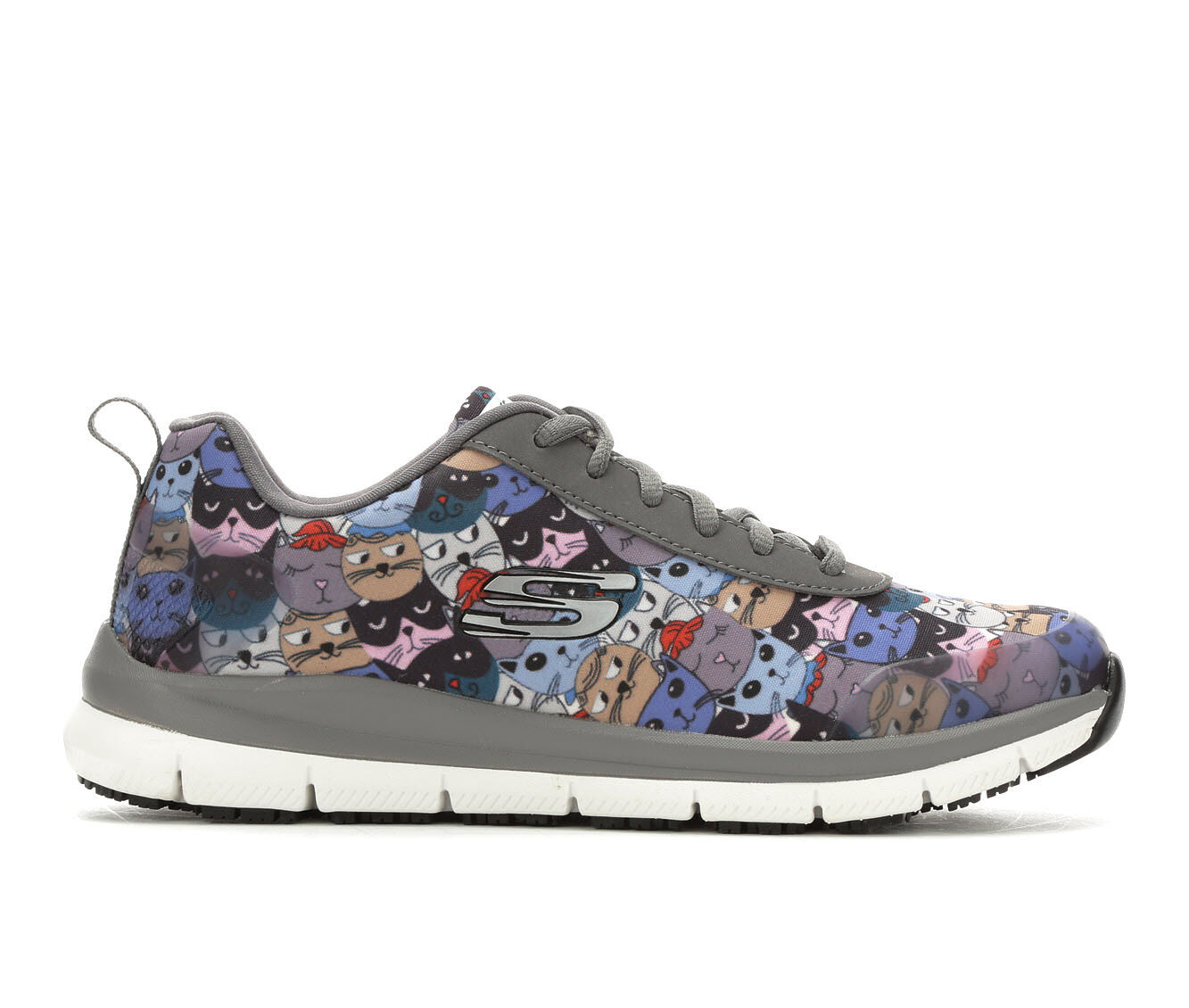 Fashionable Patterns Women's SKECHERS HEALTH Scatchey 77249 Safety Shoes Blue/Grey/Cat