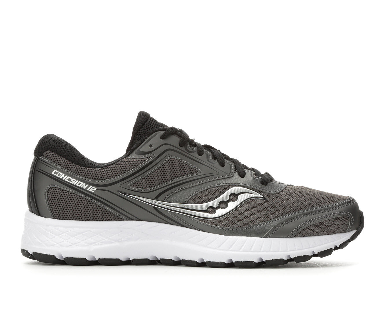 Men's Saucony Cohesion 12 Running Shoes Gry/Blk/Wht
